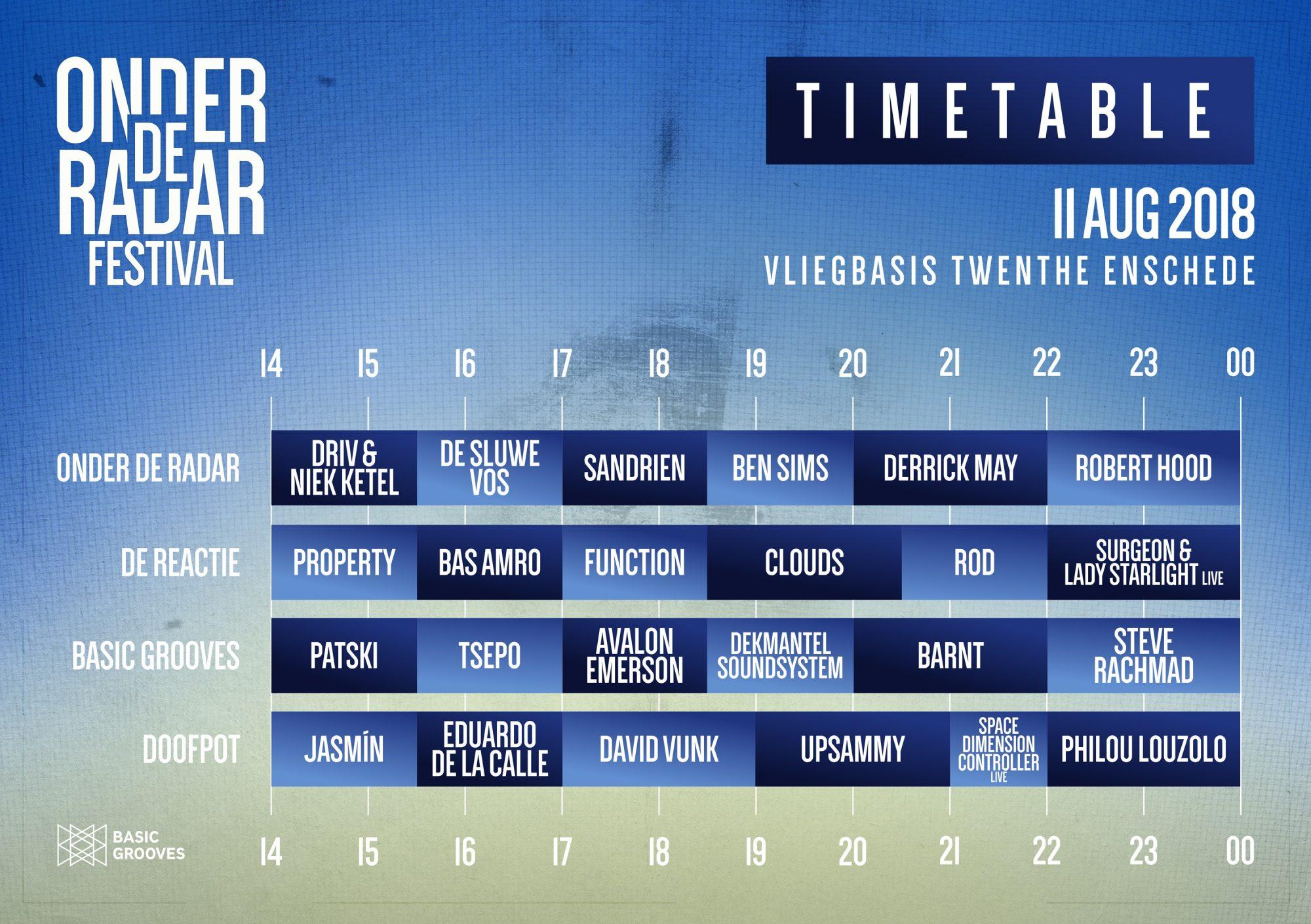 Onder De Radar timetable